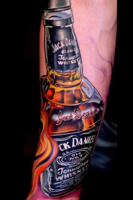 Brilliant Daniel Whiskey Bottle Tattoo Made By Expert6