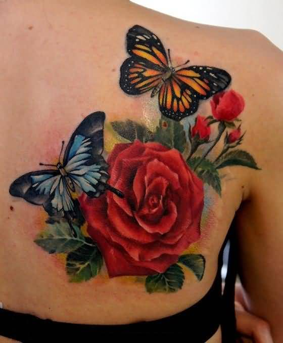 Brilliant Flying Buttetful And Awesome Red Rose Flower Tattoo Make On Back Shoulder 4