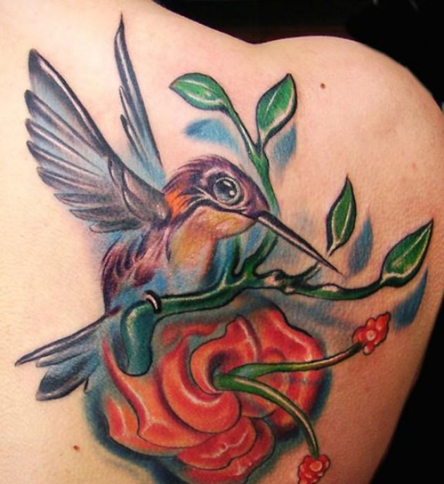 Brilliant Humming Bird And Beautiful Flower Tattoo On Back Shoulder3