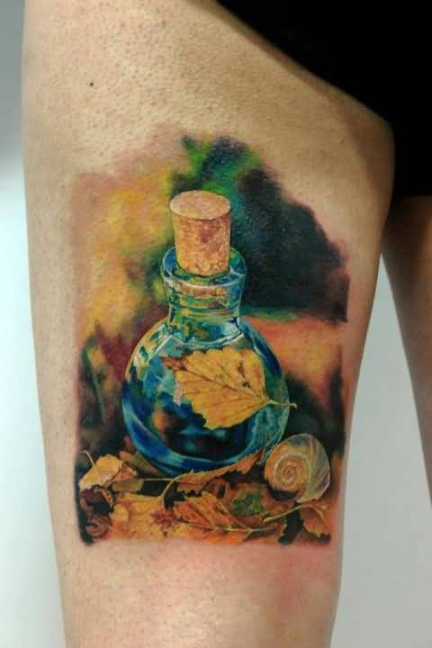 Brilliant Perume Bottle And Leaf Tattoo Make On Thigh2