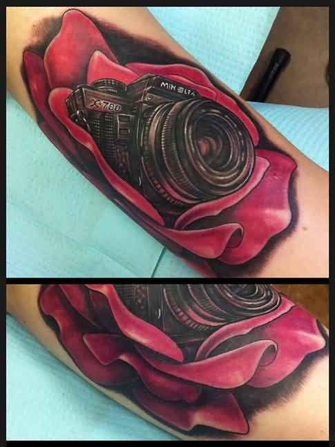 Brilliant Rose Camera Tattoo DEsign By Artist 4