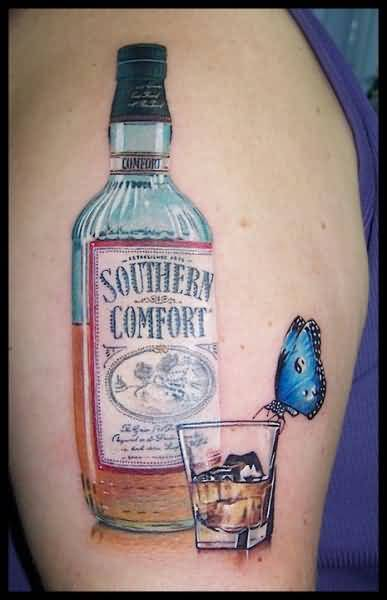 Brilliant Southern Whiskey Bottle With Glass And Beautiful Blue Butterfly Tattoo4