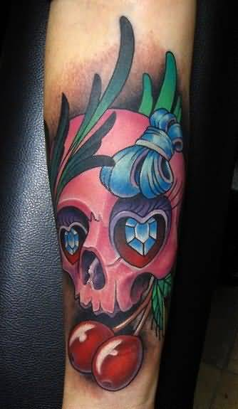 BrilliantSkull And Lovely Blue Bow With Realistic Cherry Tattoo 3