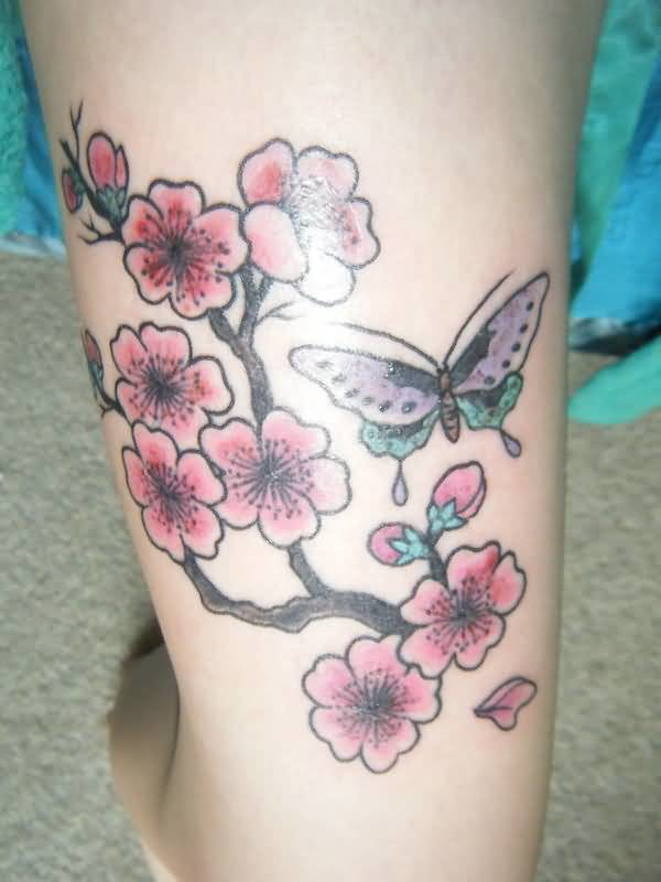 Classy Butterfly And Fabulous Cherry Blossom Tattoo 25