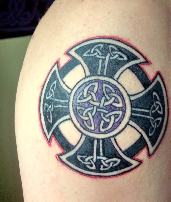 Colorful Celtic Cross Tattoo Design Make On Upper Sleeve 7