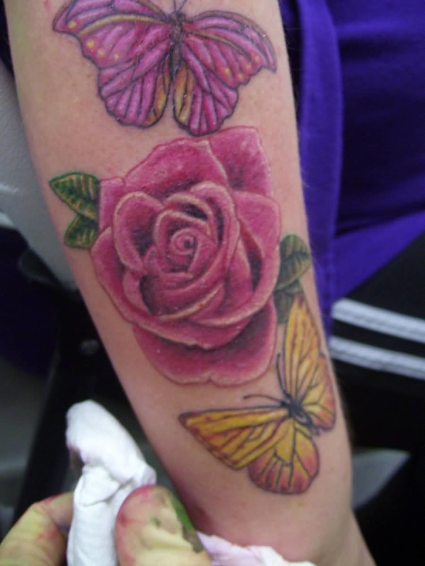 Colourful Butterflies And Lovely Flowers Tattoo Design By Artist 7