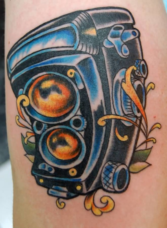 Colourful Film Camera Tattoo DEsign By Ink 2