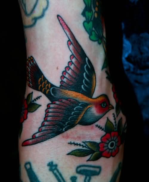 Colourful Flying Birds And Flowers Tattoo Made By Expert5