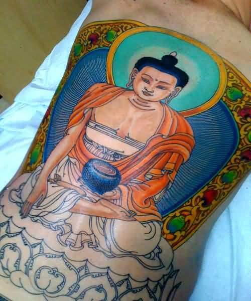 Colourful Medicine Buddhist Tattoo Made By Artist    111