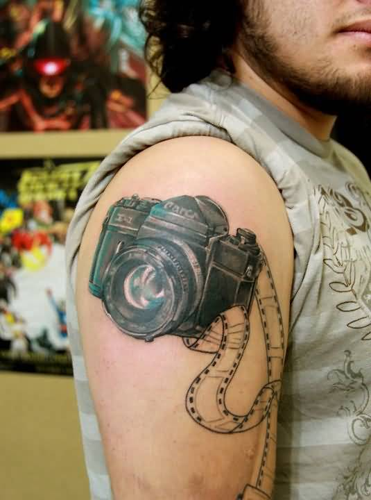 Cool Men Show Nice Looking Film Camera Tattoo On Shoulder 6
