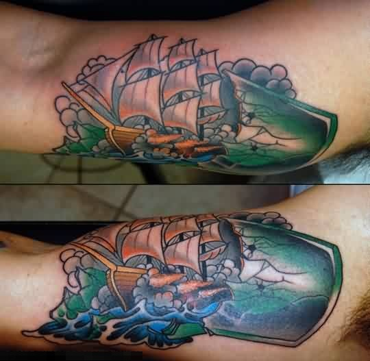 Cracked Bottle And Drop Ship Tattoo Design By Artist    7