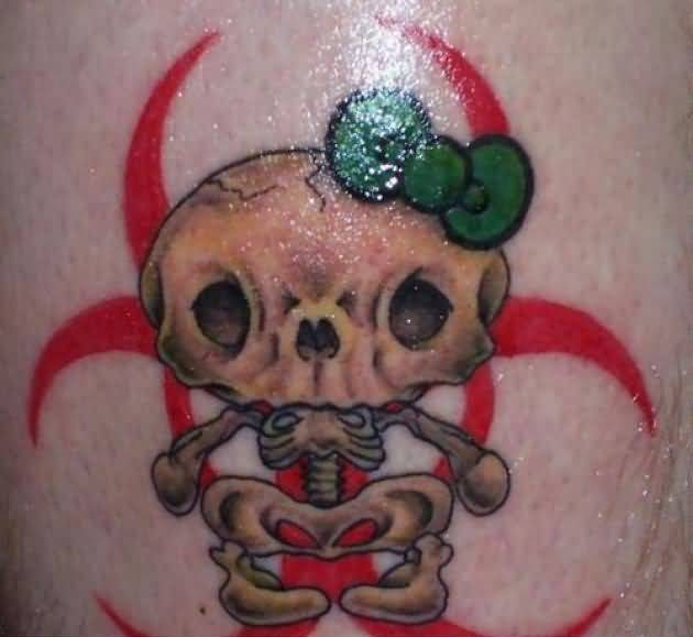 Dangerous Cat Skeleton Tattoo With Lovely Gren Bow 6