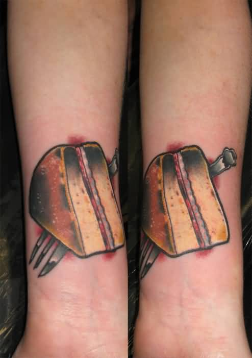 Delicious Cake And Knife Tattoo  On Wrist 5