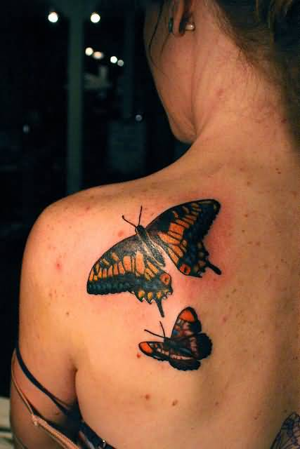 Fabulous Butterflies Tattoo Design On Women's Back Shoulder 3