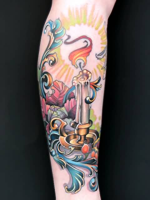 Fabulous Candle With Stick And Leaf Tattoo Made By Colorful Ink 3