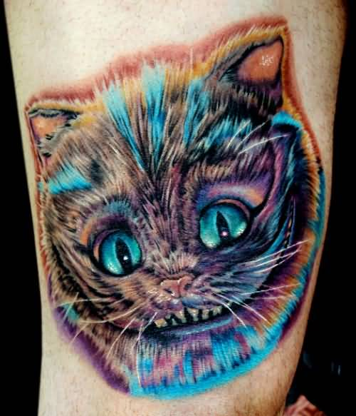 Fabulous Cat Head Tattoo Design Made By Colorful Ink 2