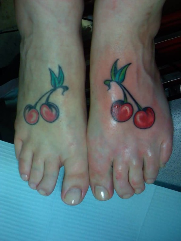 Fabulous Cherry Tattoo Design Make On Both Foot 5