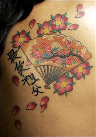 Famous Asian Fan And Letters With Pink Cherry Blossom Tattoo 14