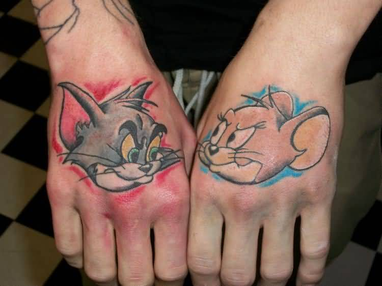 Famous Funny Tom Andd Jerry Cartoon Tattoo Make On Both Hand 38