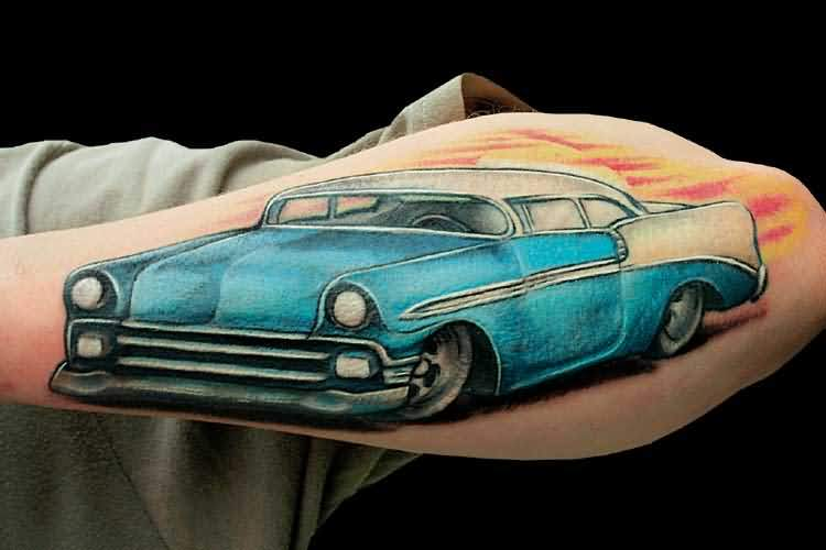 Famous Racing Blue Car Sleeve Tattoo Made By Expert 3