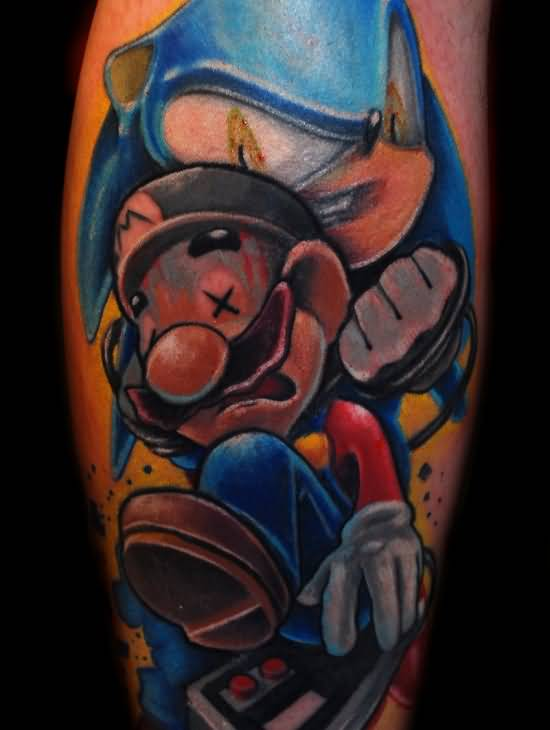 Fantastic Angry Mario Cartoon Tattoo Design Made By Artist 6