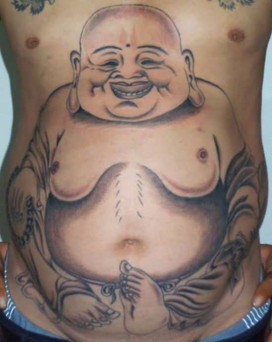 Fantastic Belly Button Tattoo Of  Laughing Buddha     2