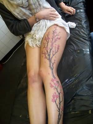 Fantastic Leg Cover Up With Amazing Cherry Blossom Flowers Tattoo For Pretty Women 9