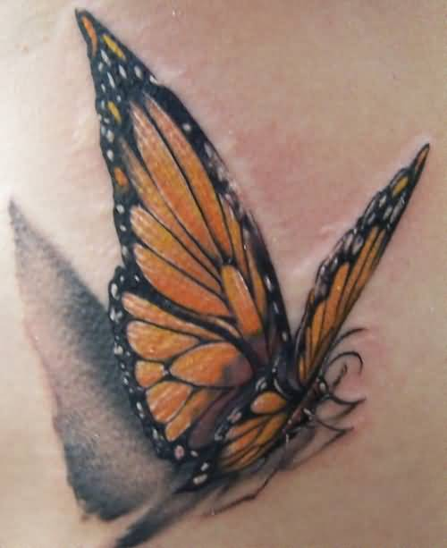 Fantastic Monarch Flying Butterfly Tattoo Design 1