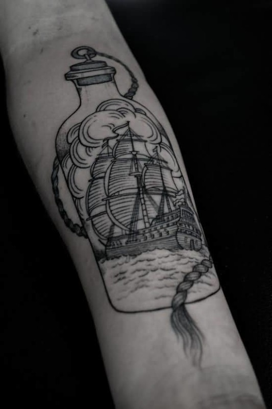 Fantastic Ship And Bottle Tattoo Made By Ink   3