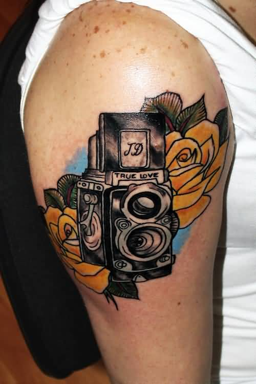 Fantastic Yellow Flower And Trie Love Film Camera Tattoo DEsign For Shoulder 7
