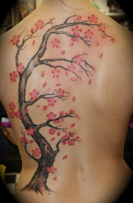 Full Back Cover Up With Fantastic Cherry Blossom Tree Tatoo Design Made By Ink 8