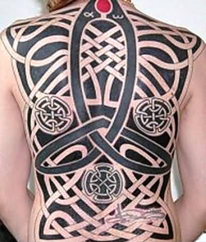 Full Back Decorated With Outstanding Big Celtic Tattoo 11