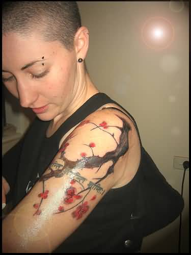 Cherry Blossom Sleeve Tattoos - Images, Pictures -Tattoos ... | 375 x 500 jpeg 16kB