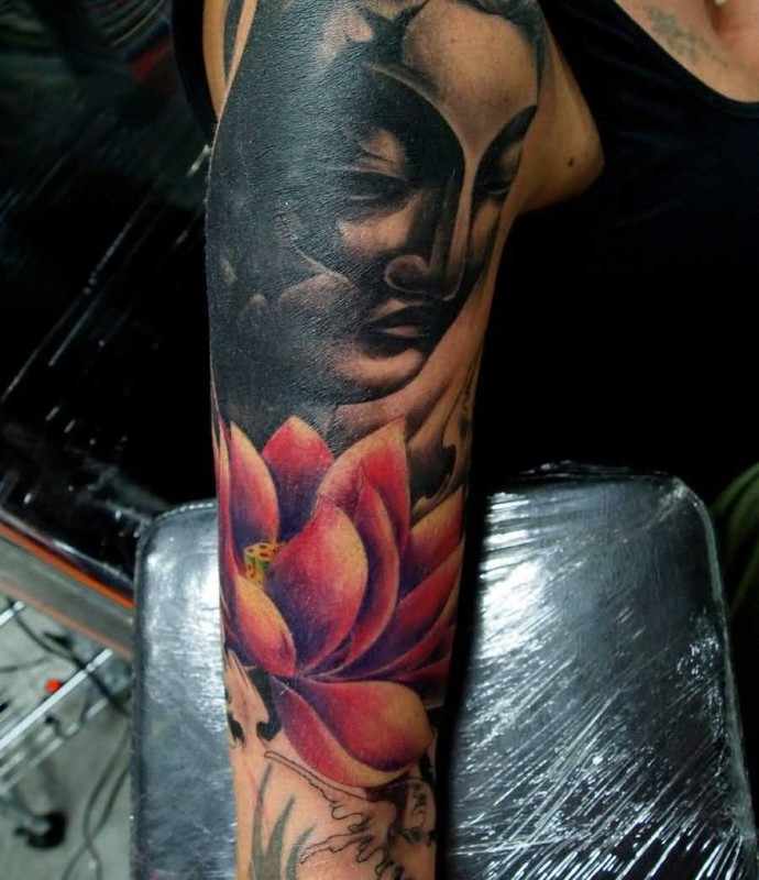 Gorgeous Buddha Face And Pink Flower Tattoo Make On Upper Sleeve   6
