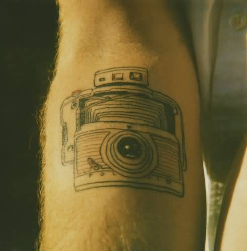 great looking old camera tattoo design by ink. Black Bedroom Furniture Sets. Home Design Ideas