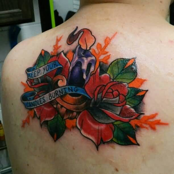 Great Looking Purple Melting Candle And Lovely Flowers With Candle Burning Banner Tattoo On Back Shoulder 5