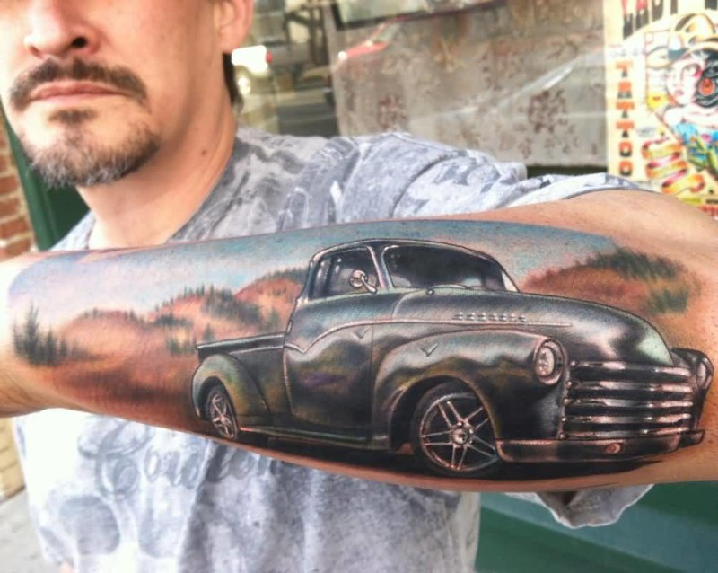 Handsome Men Show Brilliant Car Tattoo On Lower Sleeve 6