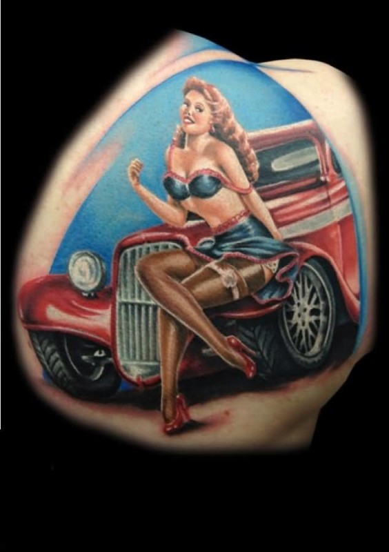 Hot Girl AndRed Car Tattoo Made By Ink 6