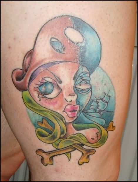 Hot Girl Cartoon And Bones Tattoo Make On Upper Leg 6