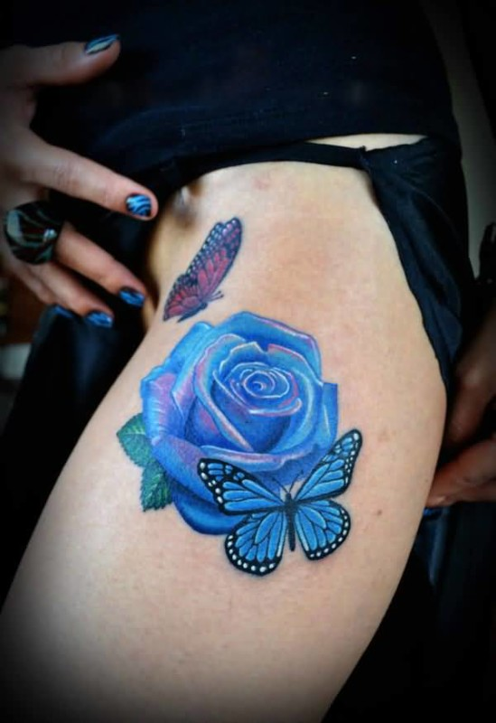 Hot Girl Show Brilliant Blue Rose Flower And Flying Butterflies Tattoo Made By Colourful Ink 5