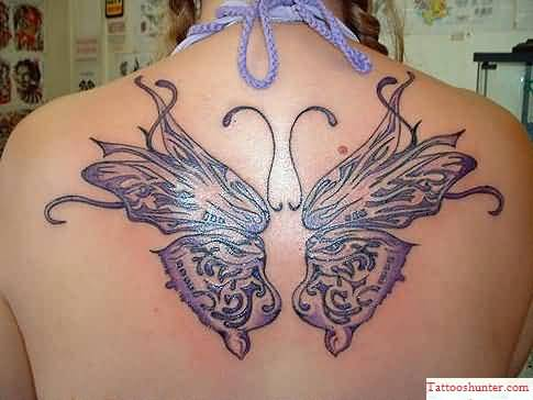 Hot Lady Show Amazing Celtic Butterfly Tattoo On Upper Back 28