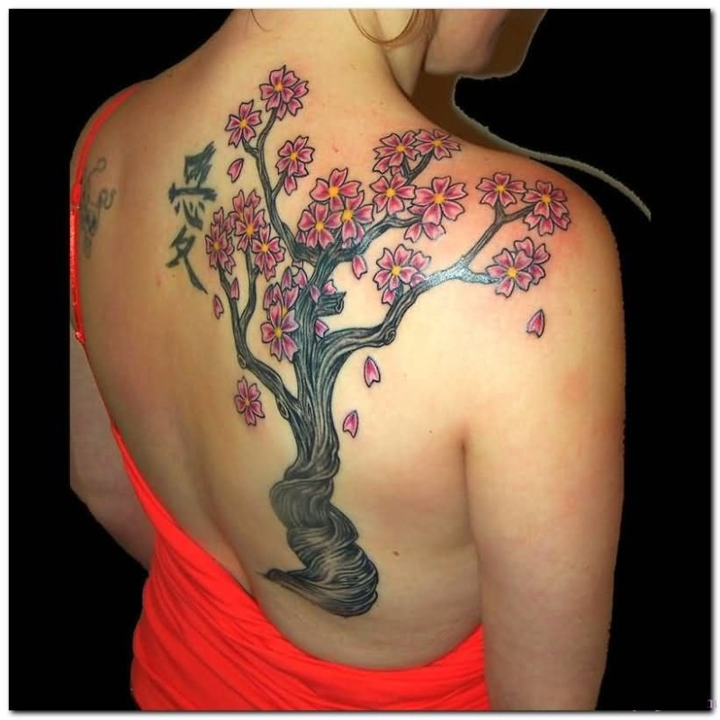 Hot Women Show  Cherry Blossom Tree And Famous Asian Letters Tattoo On Back 7