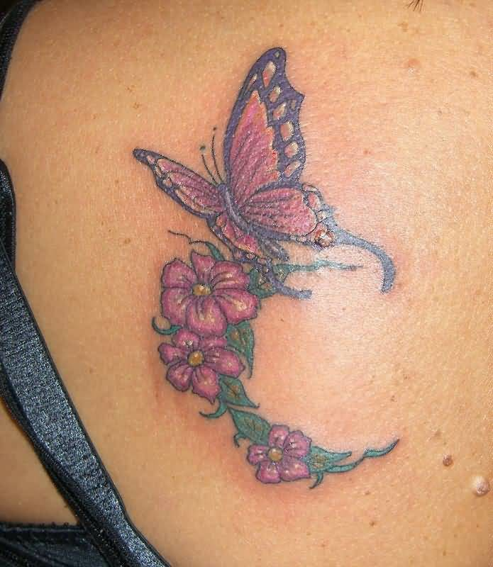 Flying butterfly tattoo ideas and flying butterfly tattoo for Flower and butterfly tattoo