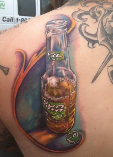 Latest Beer Bottle Tattoo On Back Shoulder3