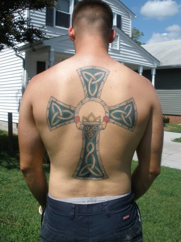 Latest Big Celtic Cross Tattoo For Cool Men 7