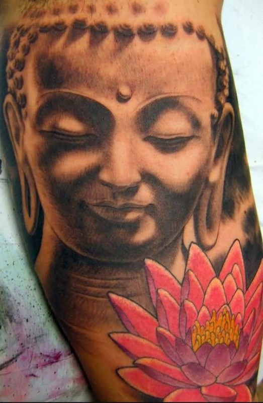 Latest Buddha And Lotus Flowers Tattoo Design By Ink