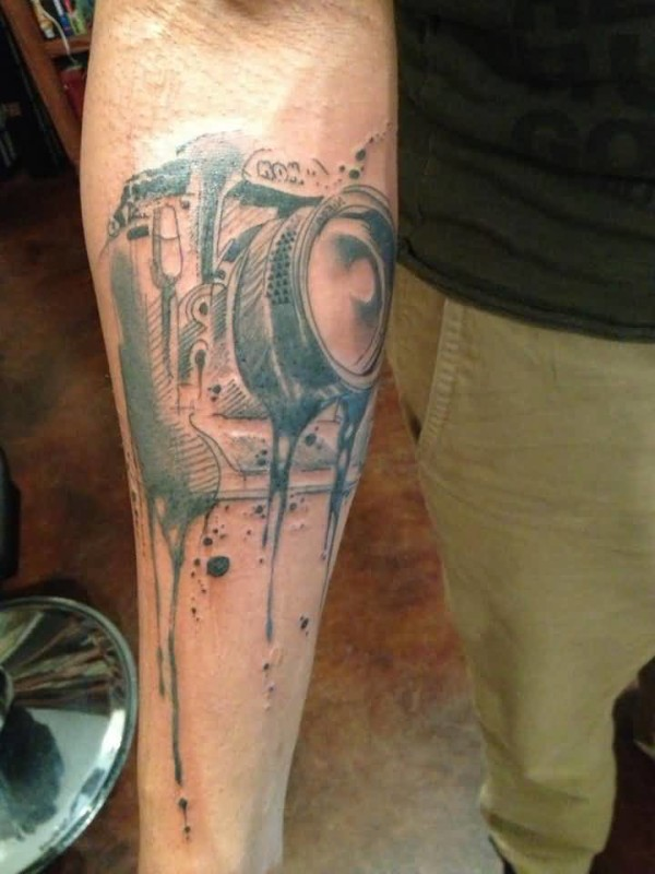 Latest Film Camera Tattoo Make On  Lower Sleeve 5