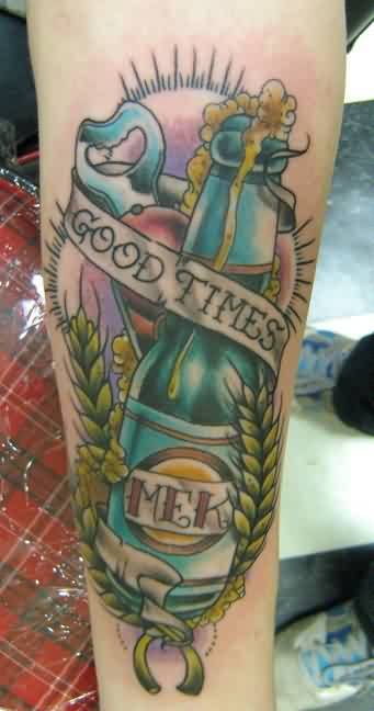 Latest Mek Bottle With Good Times Banner Tattoo3