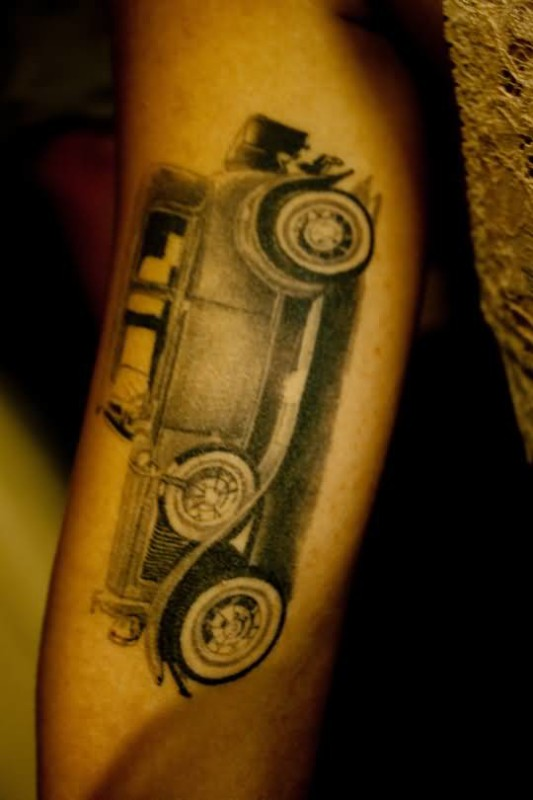 Latest Old Car Tattoo Design Made By Grey Ink 3