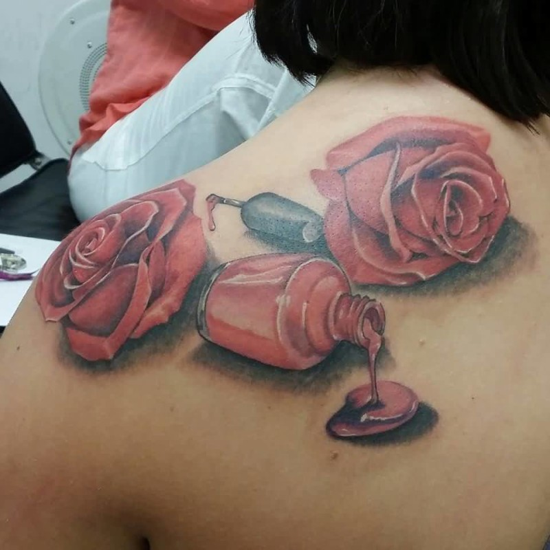 Latest Open Nail Polish Bottle And Beautiful Red Roses Tattoo For Hot Girl6